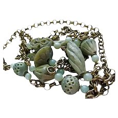 Opera Length 7 Foot Art Deco Carved Jade Jadeite Gold Plated Link Flapper Necklace