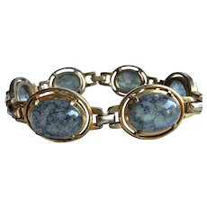 Gorgeous Mazer Bros. Blue Opalescent Light Catching Cabochon Stone Link Bracelet Vintage Jomaz Jewelry