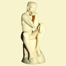"A. Giannelli (Italy 20th) Alabaster on Marble Sculpture after Rodin's ""The Thinker"" Signed by Artist"