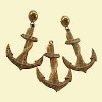 St John Couture Anchor Brooch and Earrings Set Nautical Chic Gold Tone with Crystals