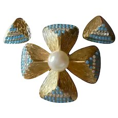 Grosse Germany 1968 Gold Plated with Turquoise Blue Stones & Faux Pearl Brooch Earrings Set Spring Easter