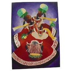 Vibrant Caribbean Folk Dance Carnival Vintage Oil Painting Signed Illegibly