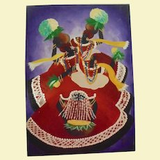Vibrant Caribbean Folk Dance Carnival Vintage Oil Painting Signed Illegibly