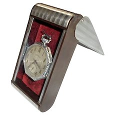 Art Deco Chrome & Bakelite Pocket Watch Holder Display Presentation Box Machine Age 1920s