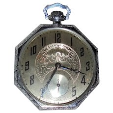 1925 Illinois Springfield Pocket Watch 19 Jewels Octagonal OPen Face Case Beautiful Condition
