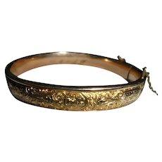 Four Leaf Clover Antique Gold-Filled Gorgeously Etched Clamper Cuff Bracelet Hallmarked S.O.B.