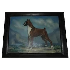 "Handsome American Boxer Show Dog ""Copper Gentleman"" Vintage Oil Painting Portrait Artist Signed"