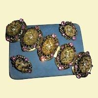 Gorgeous Over-sized Easter Egg Pink Rhinestone Confetti Cabochon Bracelet Earrings Set Demi Parure