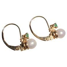 14K Gold Genuine Emerald & Akoya Cultured Pearl Pierced Earrings