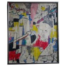 Basquiat School Vintage 1970's POP OP Art Abstract Original Painting Signed Brooklyn Listed Artist