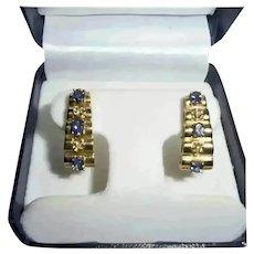 14K Gold Diamond & Tanzanite Omega Back Clip Earrings Modernist Geometric Design