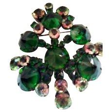 Huge Schreiner New York Rare Watermelon and Emerald Green Rivoli Rhinestone Pendant Brooch