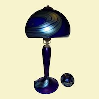 Night Sky Lundberg Studios 1988 Rare Desk Lamp and Paperweight Set Blue Favrille Glass Milky Way Stars