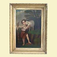 Child Saint John The Baptist With The Lamb Antique Oil Painting 18th Century Christian Catholic Art Museum Worthy Religious Theme