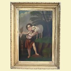 Child Saint John The Baptist With The Lamb Antique Oil Painting 18th Century Christian Catholic Art Museum Worthy Religious Theme