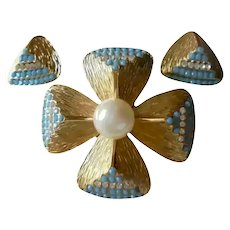 Easter Spring Beautiful Maltese Cross Earring Set by Grosse Germany 1968 Gold Plated & Turquoise Blue Stones & Faux Pearl Designer for Dior