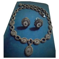 Camphor Glass Judith Jack 925 Sterling Silver Necklace Earrings Set Demi Parure