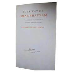 Rare Book 1897 Signed Antique Rubaiyat of Omar Khayyam Richard Le Gallienne Limited Edition Uncut Brentano's Bookstore NYC Oscar Wilde