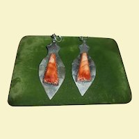 Henry Ganadonegro Stunning Native American Spiny Oyster Navajo Vintage Dangling Earrings Signed HG Sterling Silver 925