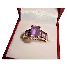 18K Gold Amethyst & Diamond Emerald-cut Ring Size 8