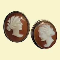 14K Gold Romantic Couple Shell Cameo Pierced Earrings Vintage Male Female Profiles
