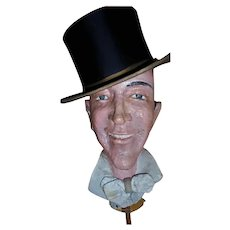 Old Hollywood Fred Astaire Papier Mache Life-Size Head Sculpture Prop & Authentic TOP HAT