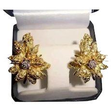High End Designer 18K Gold Diamond Black Starr & Frost Couture Omega Back Earrings Flower Motif