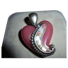 Beautiful Carolyn Pollack Relios Rhodochrosite Heart Staerling Silver Pendant Enhancer