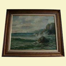 19th Century Spanish Painter Felipe Checa Antique Oil Painting Rocky Coast Spain Seascape European