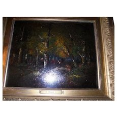 Barbizon Founder Narcisse Diaz Signed Antique Oil Painting Fountainbleu Landscape Forest Interior with Figure and Cows Listed Artist