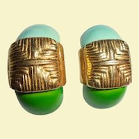Robert Blue & Green Enamel Gold-Plated Shrimp Clip Earrings Originals by Robert DeMario Miriam Haskell Designer