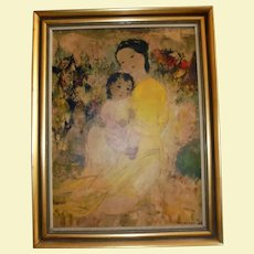 Mother and Child By Vu Cao Dam Mid Century Lithograph on Board Modernist Yellow Dress