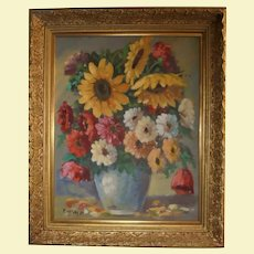 Gorgeous Sunflowers ~ Bouquet of Flowers ~Oil Painting Still Life in Gold Gilt Frame Artist Signed