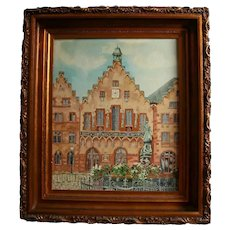 Frankfurt Germany Market Square Oil Painting in Gorgeous Carved Wood Frame