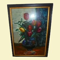 Beautiful Spring Flowers ~ Sasha Moldovan Still Life Oil Painting ~ Highly Listed Russian / American (1901-1982) Artist Original Artwork Nature Morte