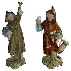"""Large Antique Royal Dux Bohemia 19th Century Boy Girl 18"""" Matte Porcelain Statues Figurines"""