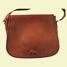 Vintage Coach Stewardess Bag Made in United States British Tan Leather Shoulder Handbag
