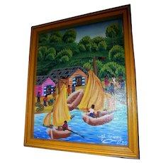 Vibrant Haitian Seascape Oil Painting by Listed Artist Jean Louis Henry (Haiti)