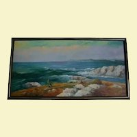 California School 4 Ft Wide Cresting Ocean Waves Seascape Beach Oil Painting