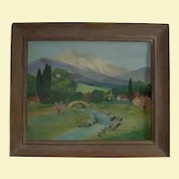 Carmel California Artist Ida Maynard Curtis (1860-1959) Original Oil Painting Plein Air Mountain Landscape