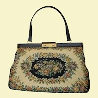 Large Bon Gout Handbag Made In Denmark Spring Floral Black, Beige & Flowers Tapestry Bag Danish
