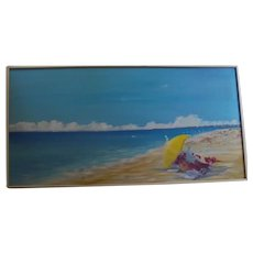 4 Feet Nantucket Beach Scene Artist Association Exhibited Oil Painting by Julie Young Seascape