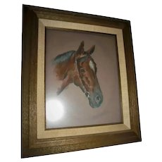 Beautiful Horse with Star on Forehead Pastel Painting Portrait Signed