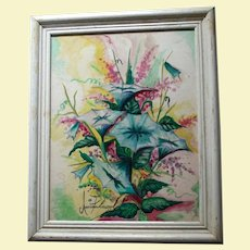 Signed Watercolor & Oil Beautiful Vibrant Still Life Painting