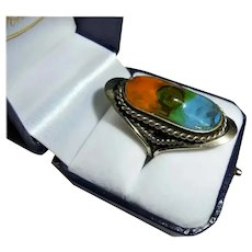 Navajo Sterling Silver Glass Insert Cable Style Ring Elongated Size 8