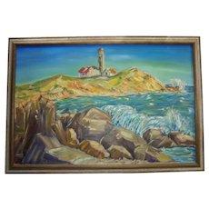 Large Impressionist Lighthouse Rocky Coast Oil on Canvas Vintage Painting