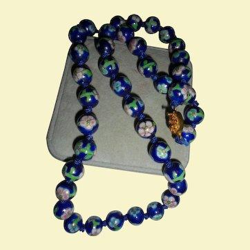 Cobalt Blue Asian Floral Motiff Hand-knotted Cloisonné Beaded Necklace