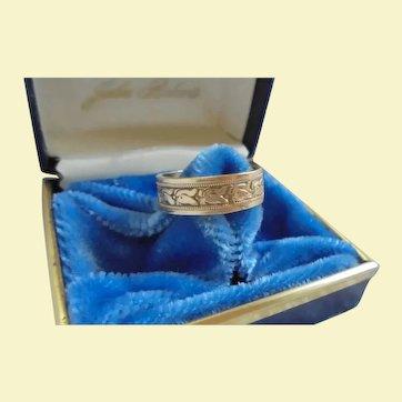 Antique 10K Gold-Filled Geometric Design Size 6 Cigar Band Ring