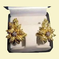18K Gold Diamond Black Starr & Frost Couture Omega Back Earrings Flower Motiff