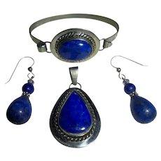 3 Pc Lapis Lazuli Parure Sterling Silver Navajo Bracelet pendant Earrings Set Native American